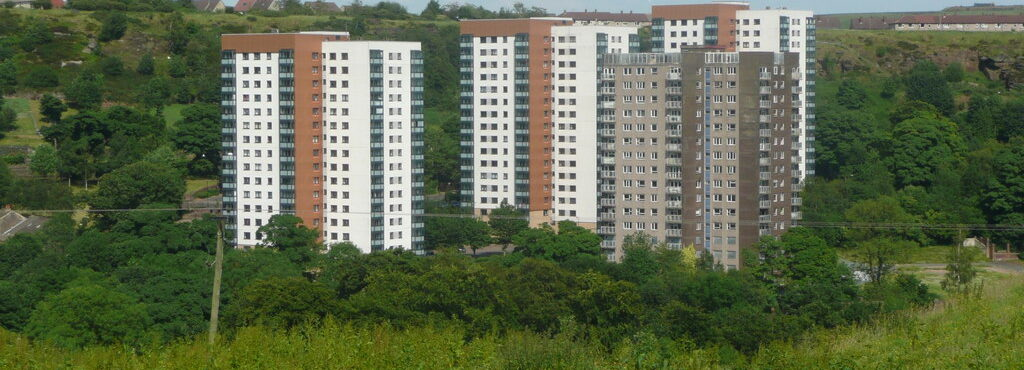 Image by Humphrey Bolton. Tower blocks off Mixenden Road, Mixenden As seen from the bridleway near Leighton Farm.