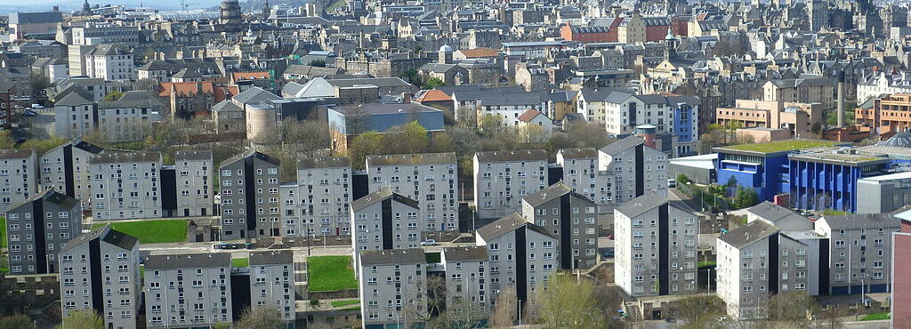 A view across Edinburgh, with Dumbiedykes social housing in the foreground