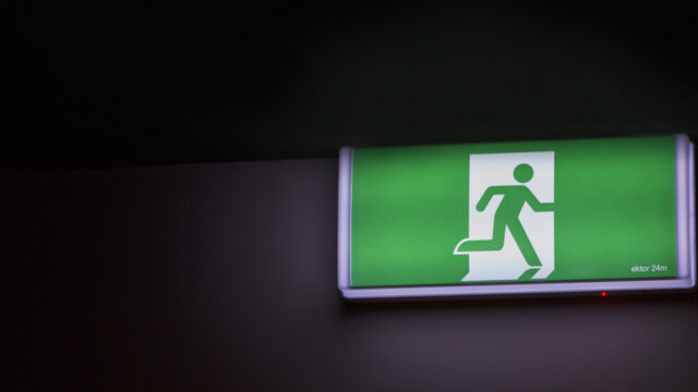Image by Braden Hopkins. A fire exit sign